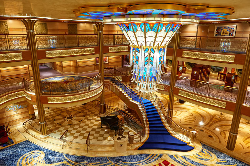 Download Main Lobby In Disney Cruise Ship Editorial Photo