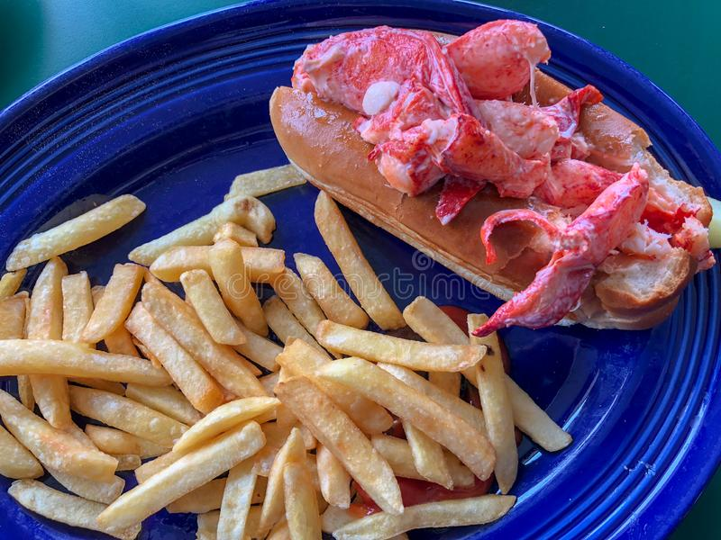 Main Lobster Roll with french fries, stock image