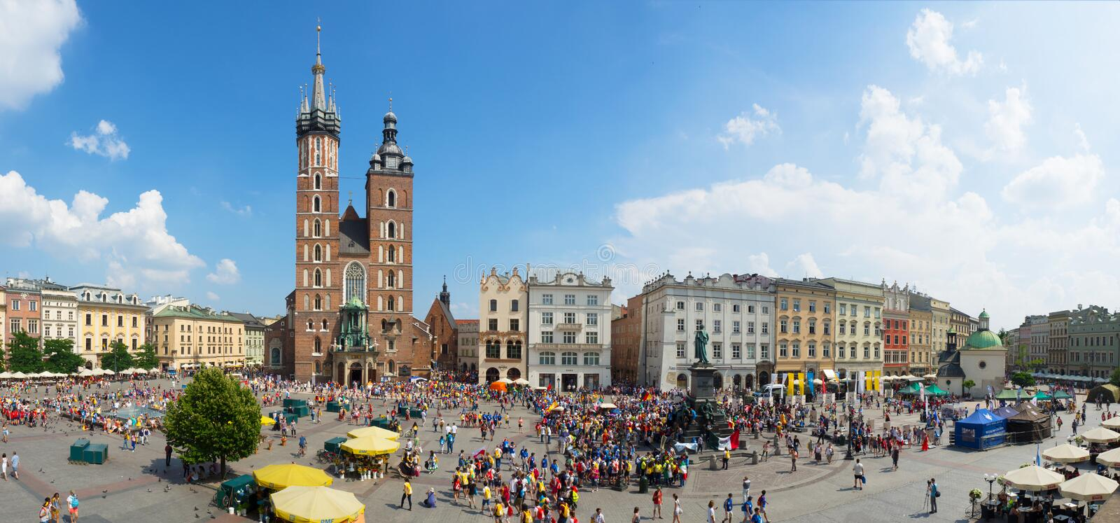 Main Market Square in Cracow, Poland. World Youth Day 2016 stock photography
