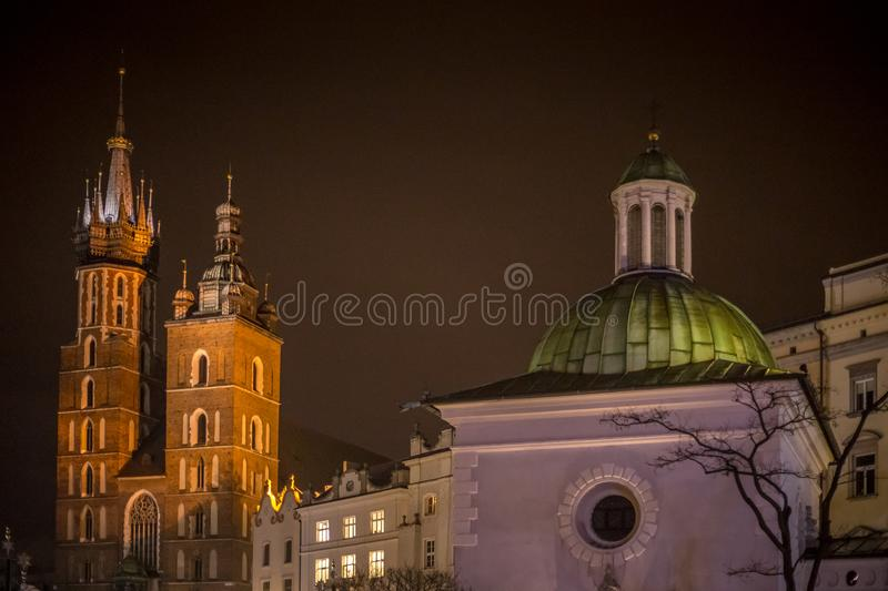 Main Market Square in Krakow at evening. royalty free stock photo