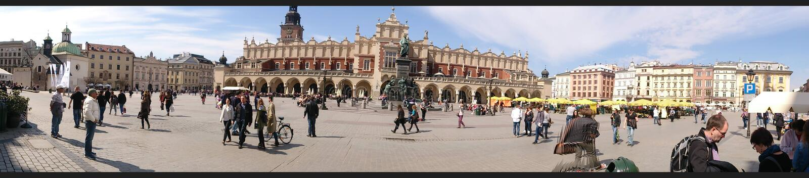 The main Market Square in Krakow royalty free stock photography