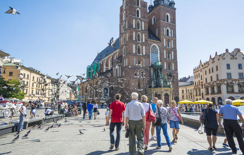 Main Market Square in the Old city of Krakow, Poland stock image