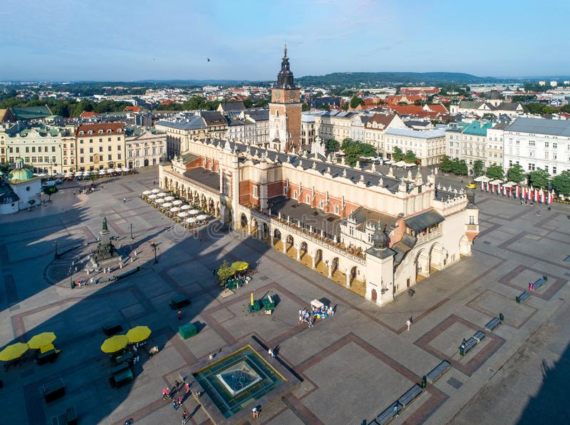 Main Market Square in Krakow, Poland. Aerial view royalty free stock image