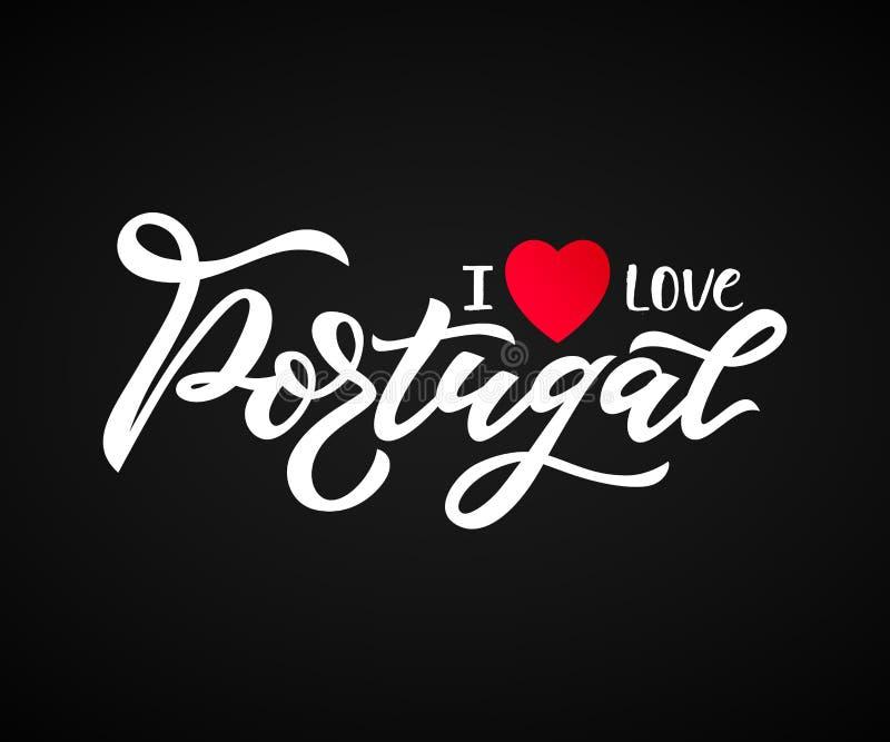 Main marquant avec des lettres j'aime le Portugal avec le coeur sur le noir Logo de voyage illustration libre de droits