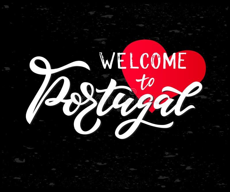 Main marquant avec des lettres l'accueil au Portugal avec le coeur sur le tableau Logo de voyage illustration stock