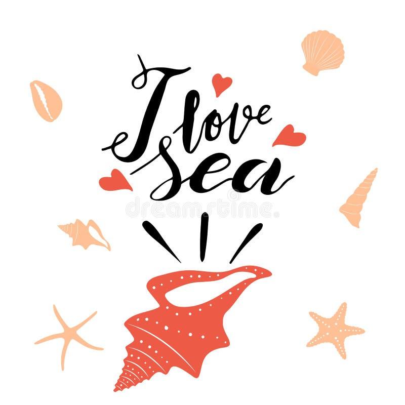 Main marquant avec des lettres l'expression j'aime la mer dans la coquille de la Mer Rouge noire et illustration libre de droits
