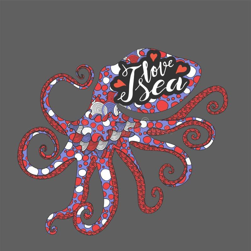 Main marquant avec des lettres l'expression j'aime la mer en poulpe intérieur écrit blanc de style de zenart illustration stock
