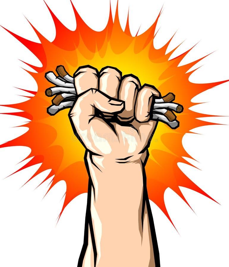 Main masculine ne cassant la cigarette, le vecteur de concept du tabagisme stoppé ou aucun jour gratuit du monde de tabac illustration stock