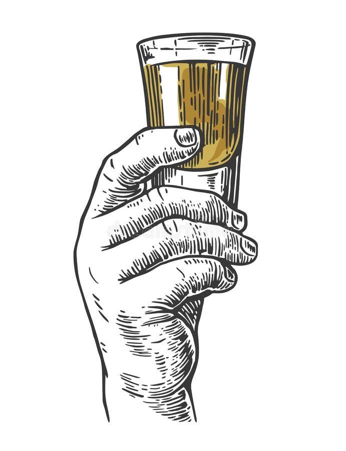 Main masculine tenant un tir de boisson d'alcool illustration stock