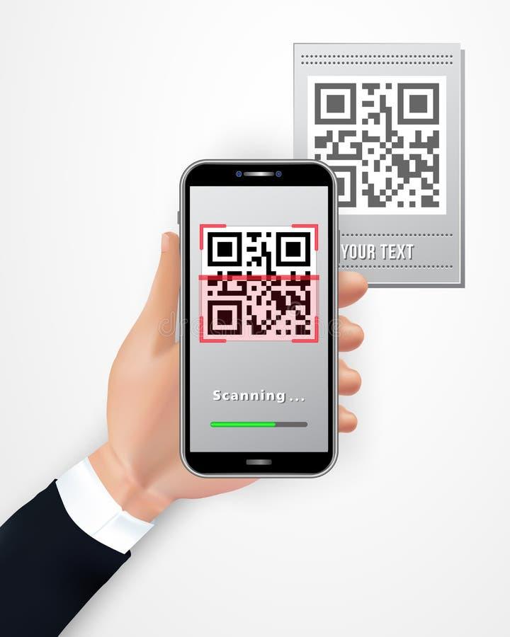 Main masculine utilisant le smartphone pour balayer le prix à payer de code de QR d'isolement sur le fond blanc Téléphone portabl illustration de vecteur