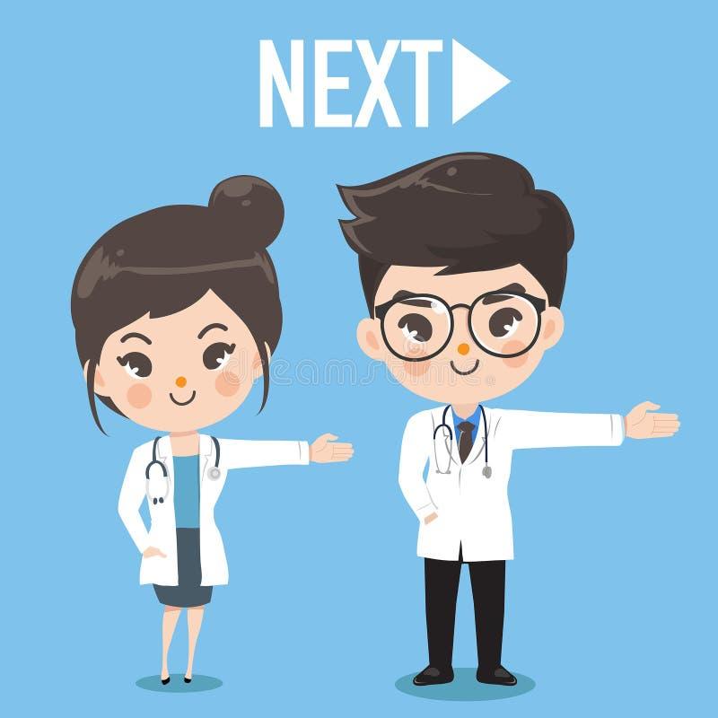 Main mignonne de prise de docteur à côté de la droite illustration stock