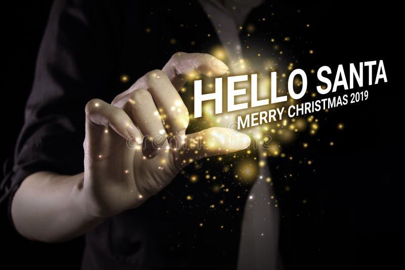 Main montrant Hello santa photographie stock libre de droits