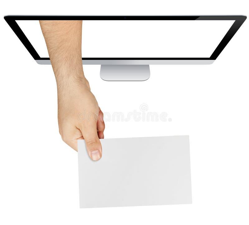 Main montrant l'écran de carte vierge d'isolement photos stock