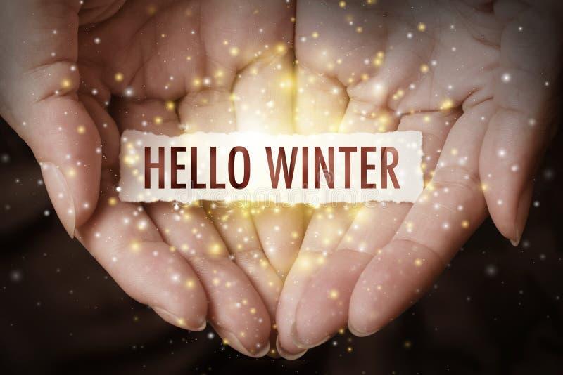 Main montrant l'hiver de bonjour photo libre de droits