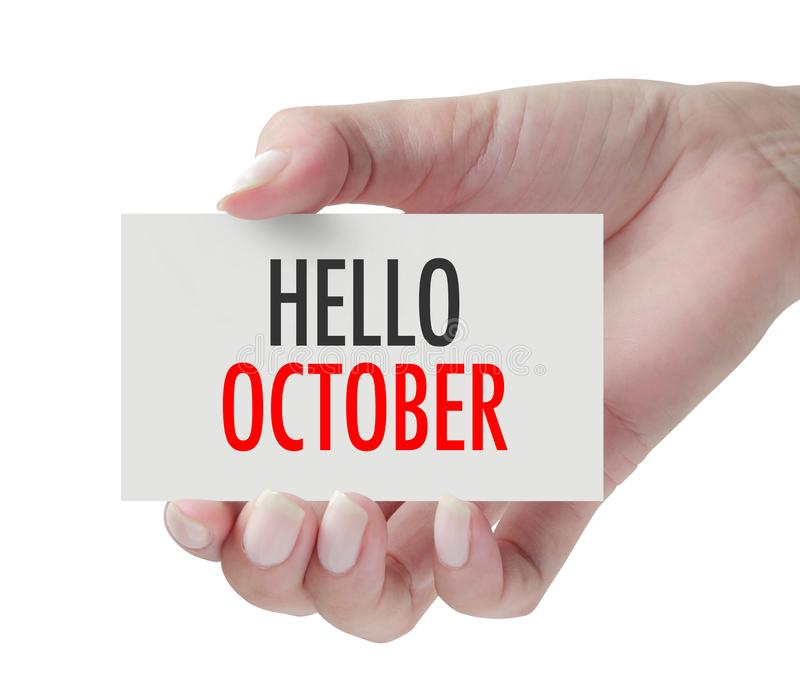 Main montrant le bonjour octobre photographie stock