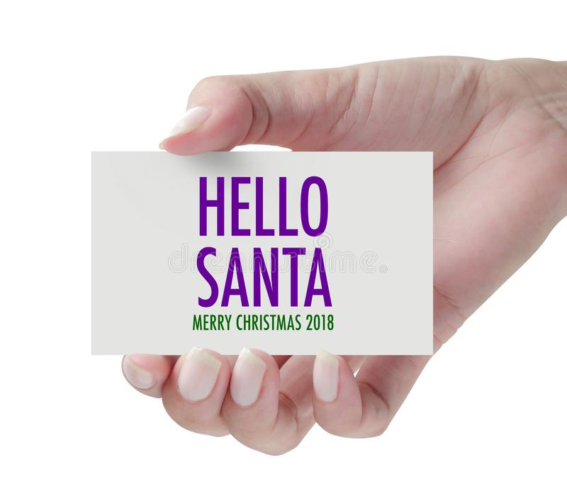 Main montrant le bonjour Santa image libre de droits