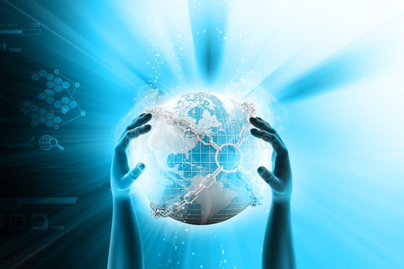 Main montrant le globe de la terre étroit dans la chaîne illustration de vecteur