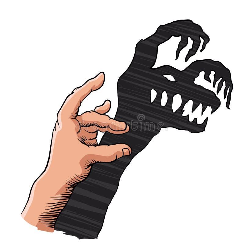 Main montrant le monstre effrayant sur le mur illustration libre de droits