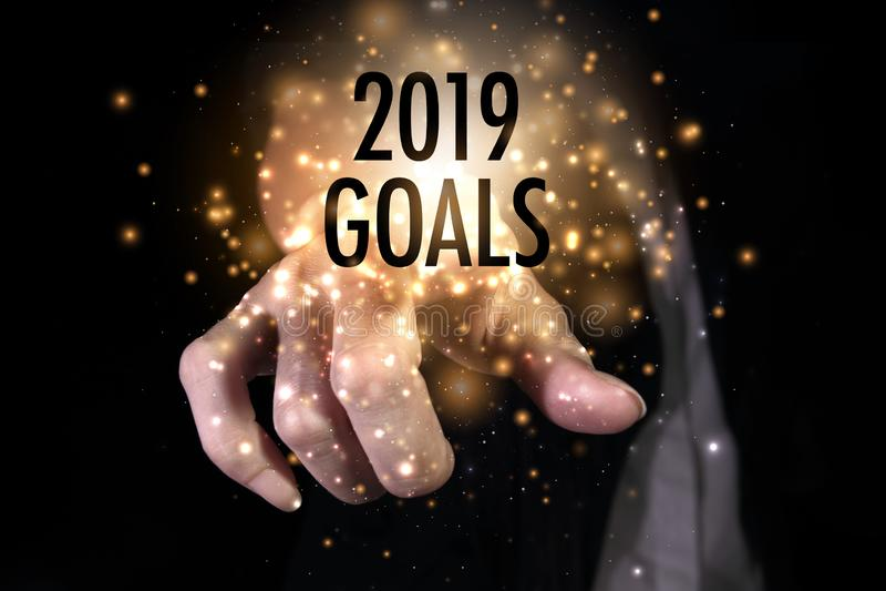 Main montrant les buts 2019 images stock