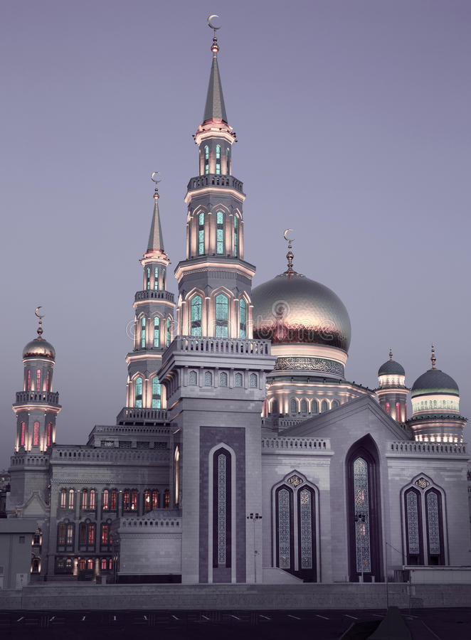 Main mosque in Moscow city, Russia. Main mosque in Moscow city situated near Prospekt Mira metro station, Russia stock image