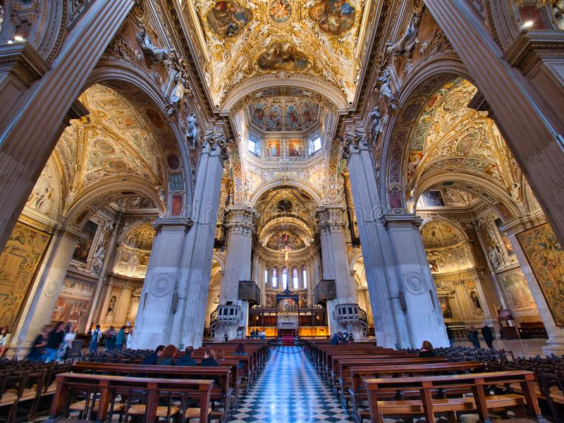 Main nave with the main altar at the end of the Basilica of Santa Maria Maggiore stock photography