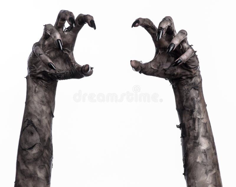 Main noire de la mort, la marche complètement, thème de zombi, thème de Halloween, mains de zombi, fond blanc, mains de maman