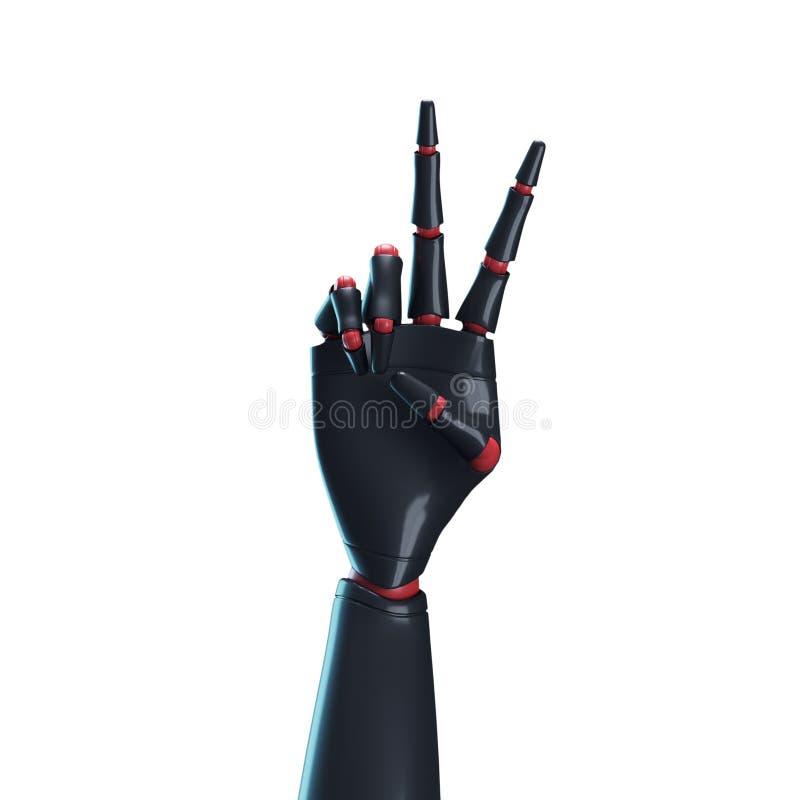 Main noire de robot, fond blanc illustration stock