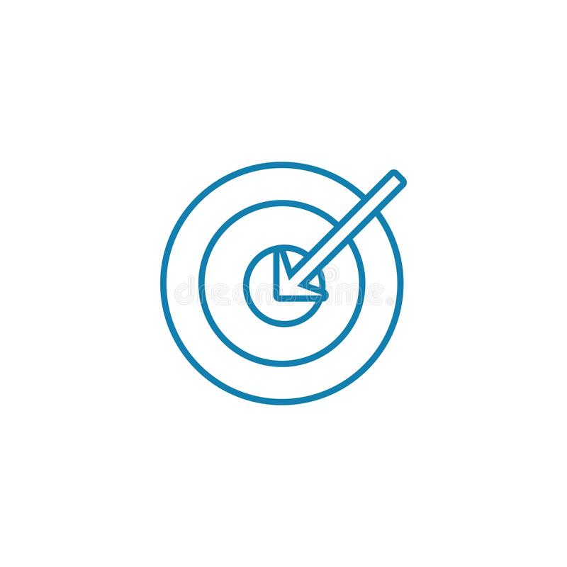Main objective linear icon concept. Main objective line vector sign, symbol, illustration. Main objective line icon, vector illustration. Main objective linear stock illustration