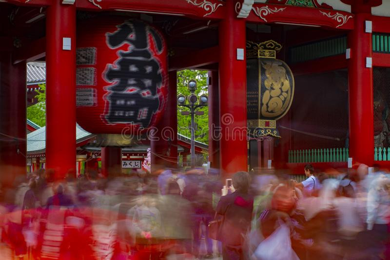 Main old fashioned gate at Sensouji temple in Asakusa Tokyo royalty free stock photography
