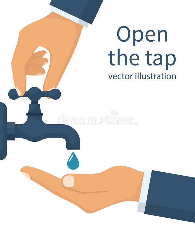 Main ouverte pour l'eau du robinet potable illustration stock