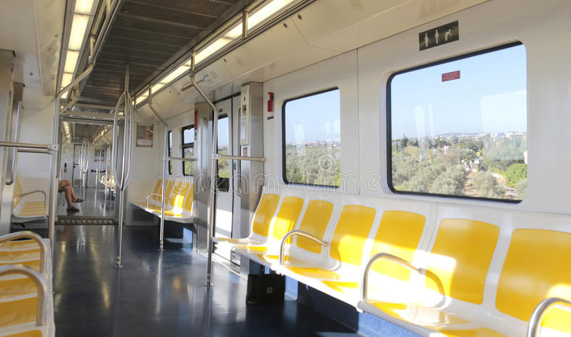 Subway wagon train during outdoor rails part. Main and only Palma subway line connects university with downtown comercial área in the city of palma de stock image