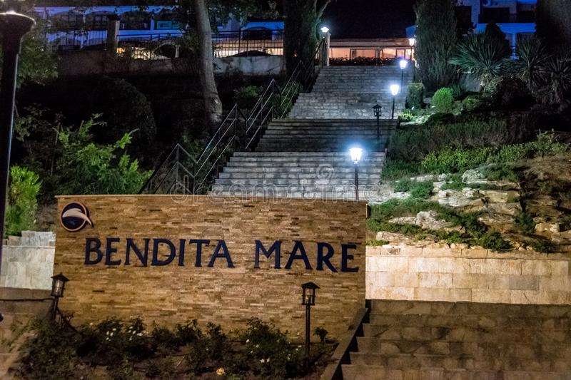 Main park staircase up to Apart-Hotel `Bendita-Mare` in Golden Sands, Bulgaria stock photos