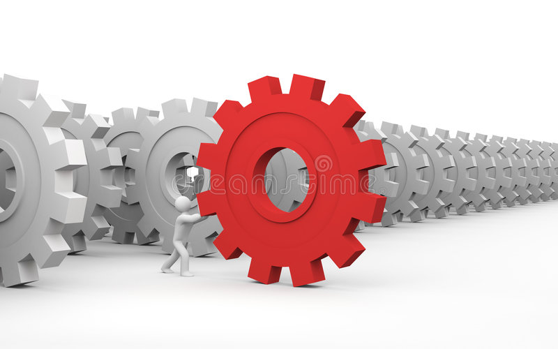 The main part. Different concept. The main part of the mechanism. Business concept. Isolated on white royalty free illustration
