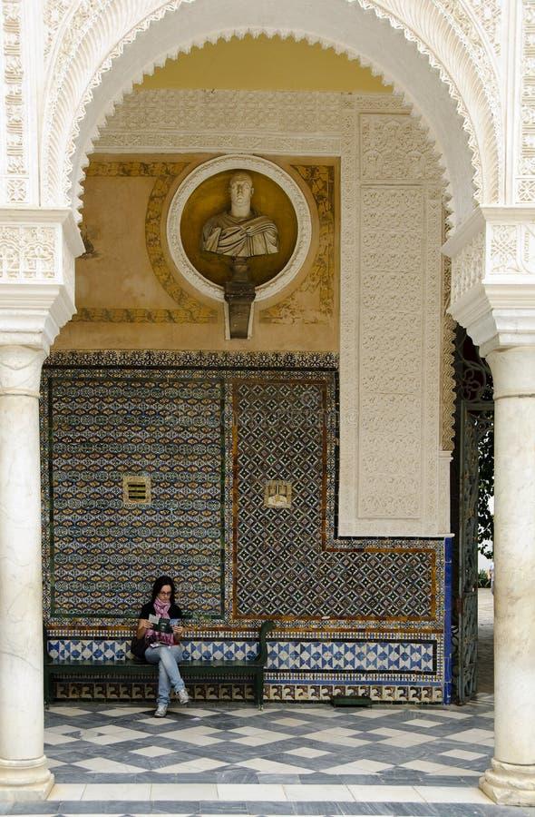 Main patio of Casa de Pilatos in Seville, Spain stock photography