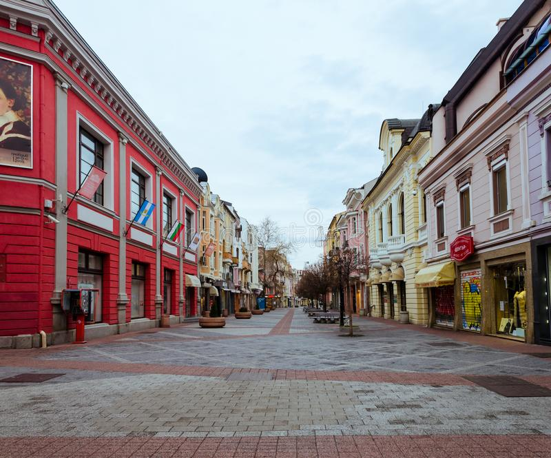 Main pedestrian area in the center of Plovdiv city in Bulgaria - no people stock photography