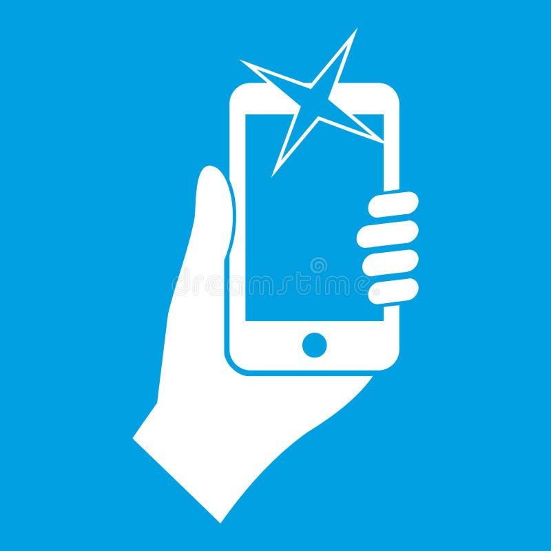 Main photographiée sur le blanc d'icône de téléphone portable illustration de vecteur