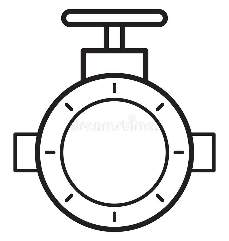 Main pipeline, pipe valve Isolated Vector Icon can be easily modified or edit vector illustration