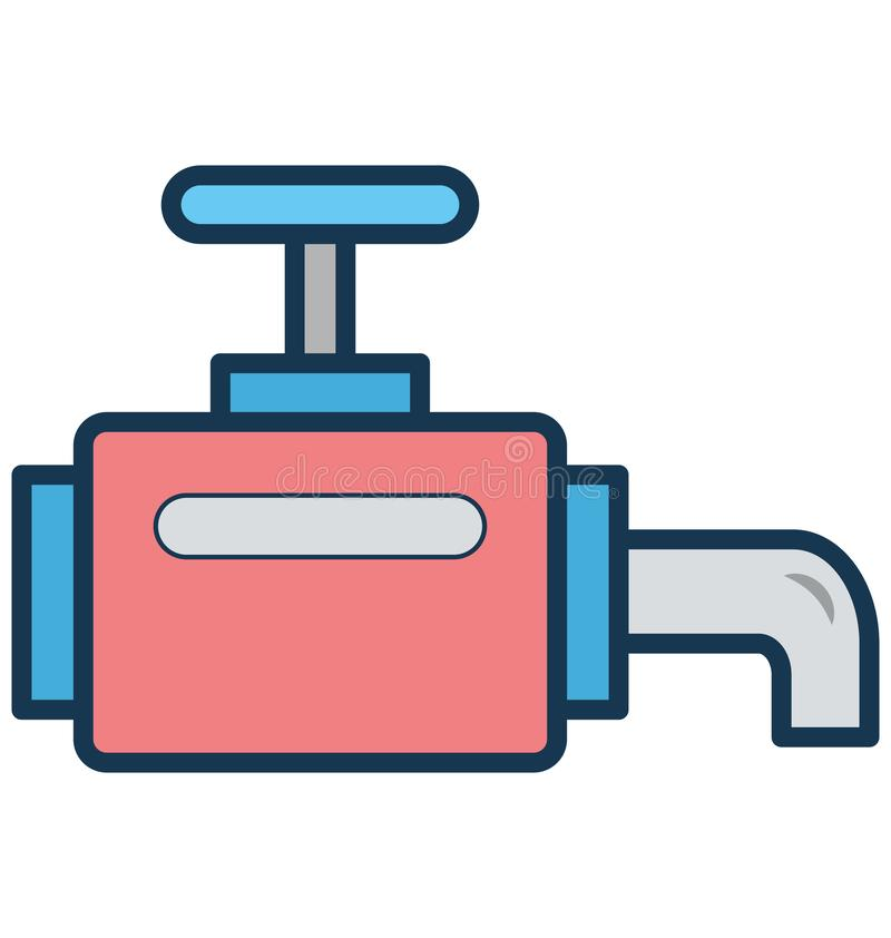Main pipeline, pipe valve Isolated Vector Icon can be easily modified or edit stock illustration