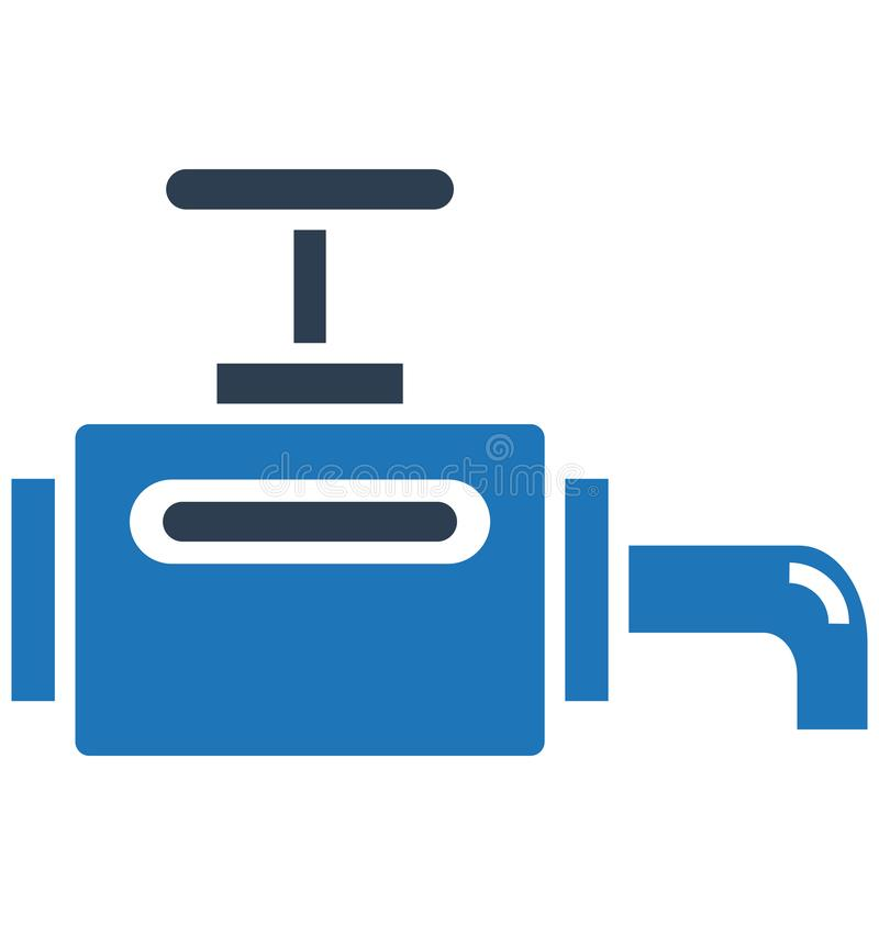 Main pipeline, pipe valve Isolated Vector Icon can be easily modified or edit royalty free illustration