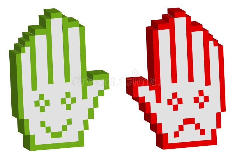Main pixelated par deux avec le sourire illustration stock