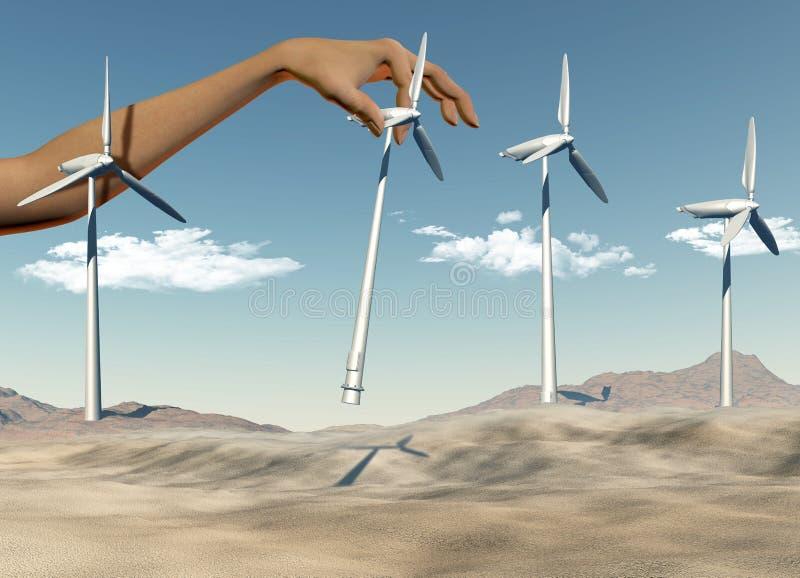 Main plaçant des turbines de vent dans un désert illustration stock