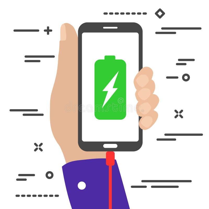 main plate minimaliste tenant un téléphone mobile en charge avec batterie et symboles d'éclair sur l'écran illustration de vecteur