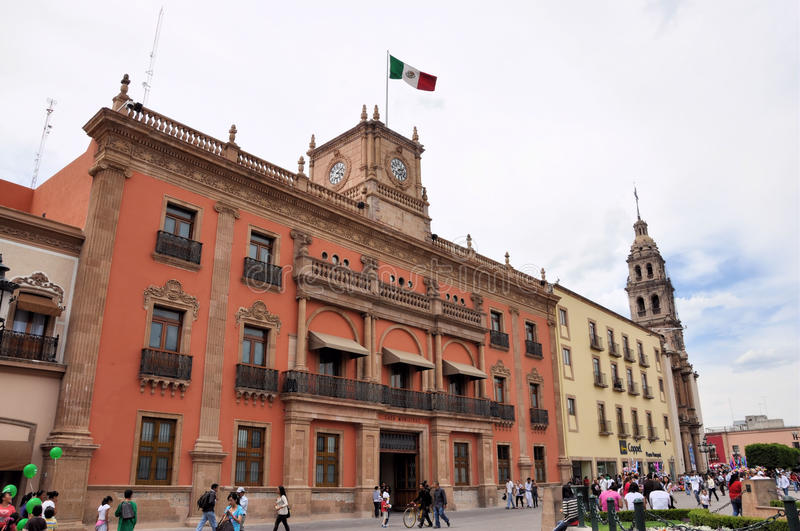 Main Plaza at Leon Mexico. Image of the downtown Plaza de los Martires of Leon, Guanajuato Mexico. Here you can also see the main government building in orange royalty free stock images
