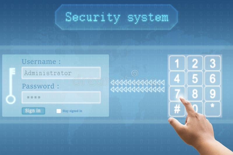Main poussant un bouton sur le login et le mot de passe d'interface d'écran tactile avec le système de sécurité futuriste images libres de droits