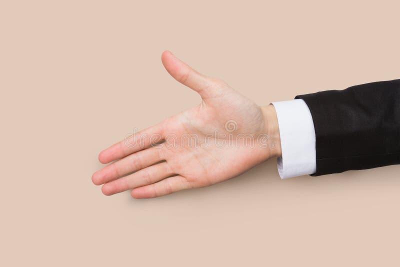 Main prête pour la poignée de main d'isolement sur le blanc photos libres de droits