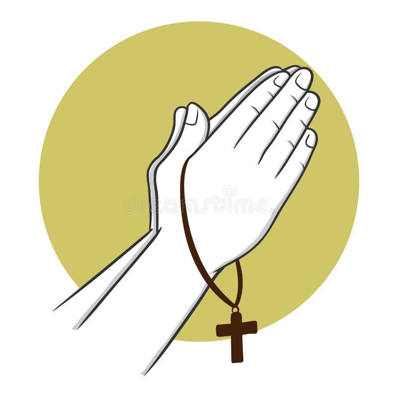 Main priant tout en tenant une croix illustration de vecteur