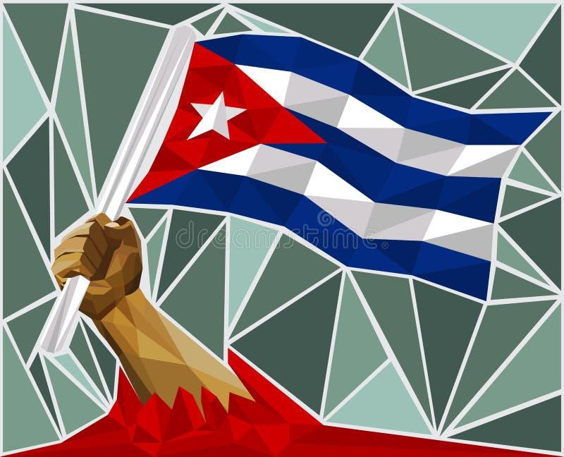 Main puissante soulevant le drapeau du Cuba illustration stock