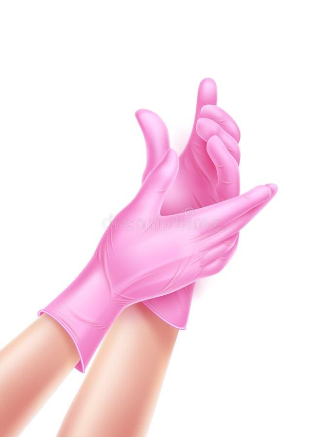 Main réaliste d'infirmière de vecteur portant les gants stériles illustration libre de droits