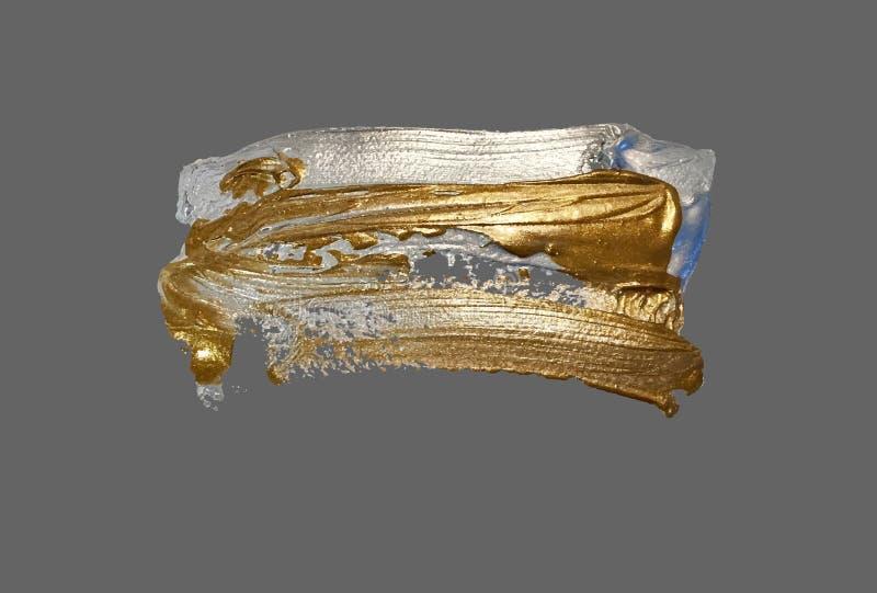 Main réaliste dessinant la tache d'or de peinture de course de brosse illustration libre de droits