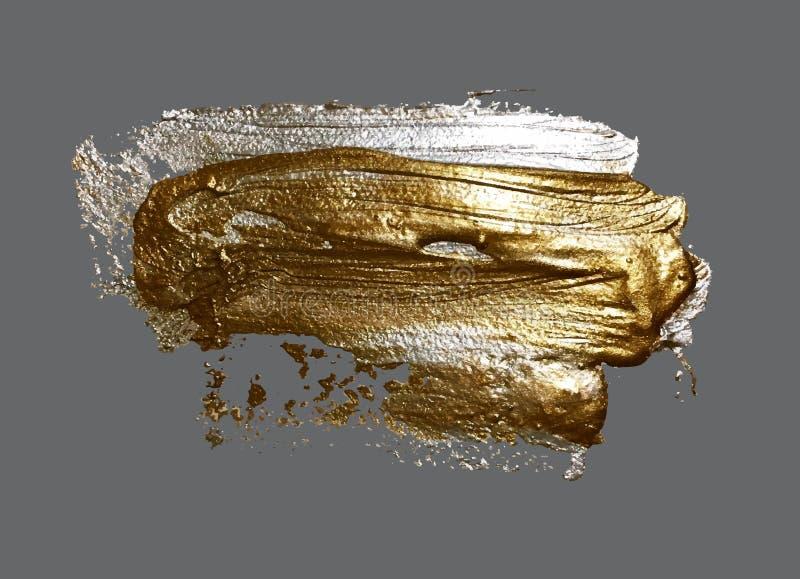 Main réaliste dessinant la tache d'or de peinture de course de brosse illustration de vecteur